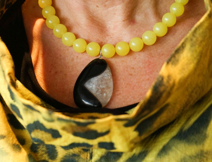 Yellow Jade & Agate Necklace