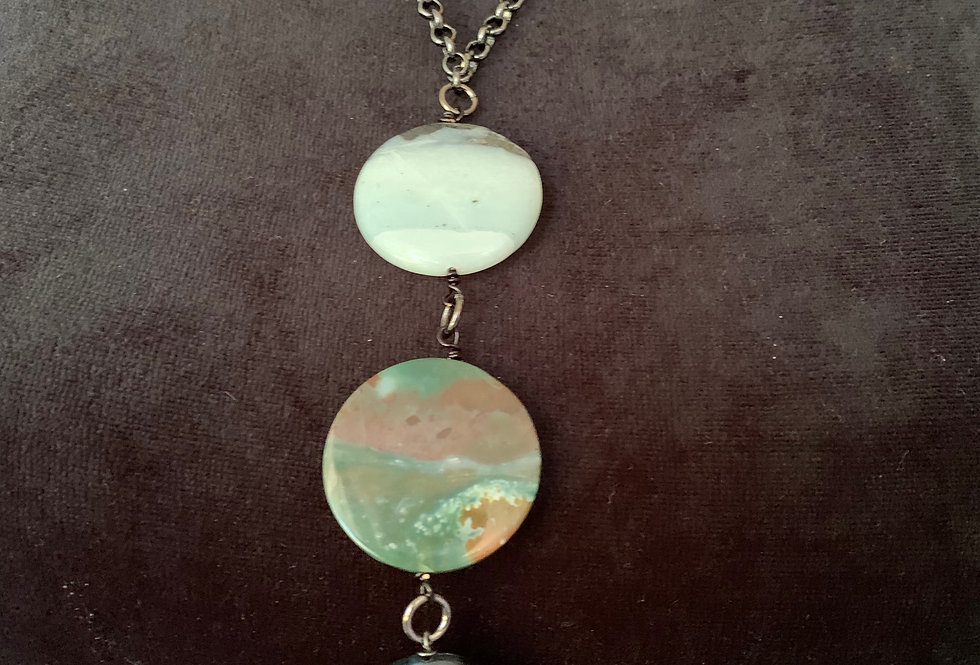 Amazonite, Large Green Agate, Hypersthene Necklace