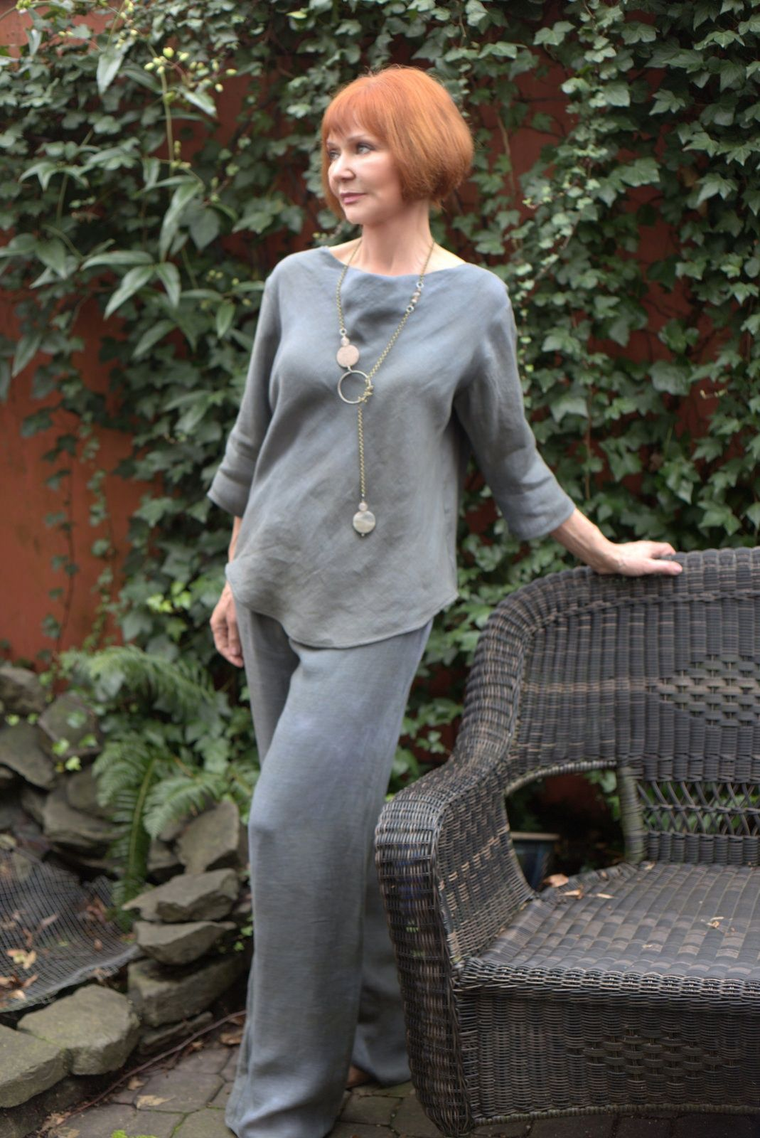 slate solid top pant