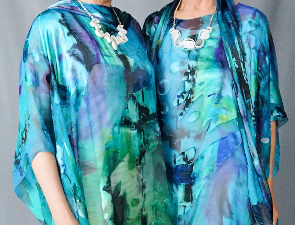 Exclusive Cut Silk Hand Dyed Turquoise Easy Tunic
