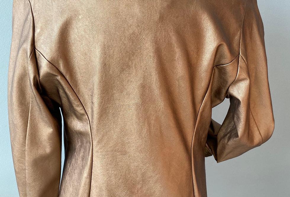 Copper Faux Leather Coat
