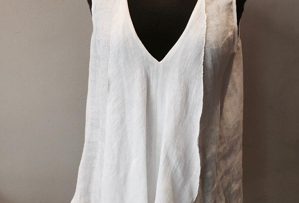 Linen Asymmetrical Ruffle Top