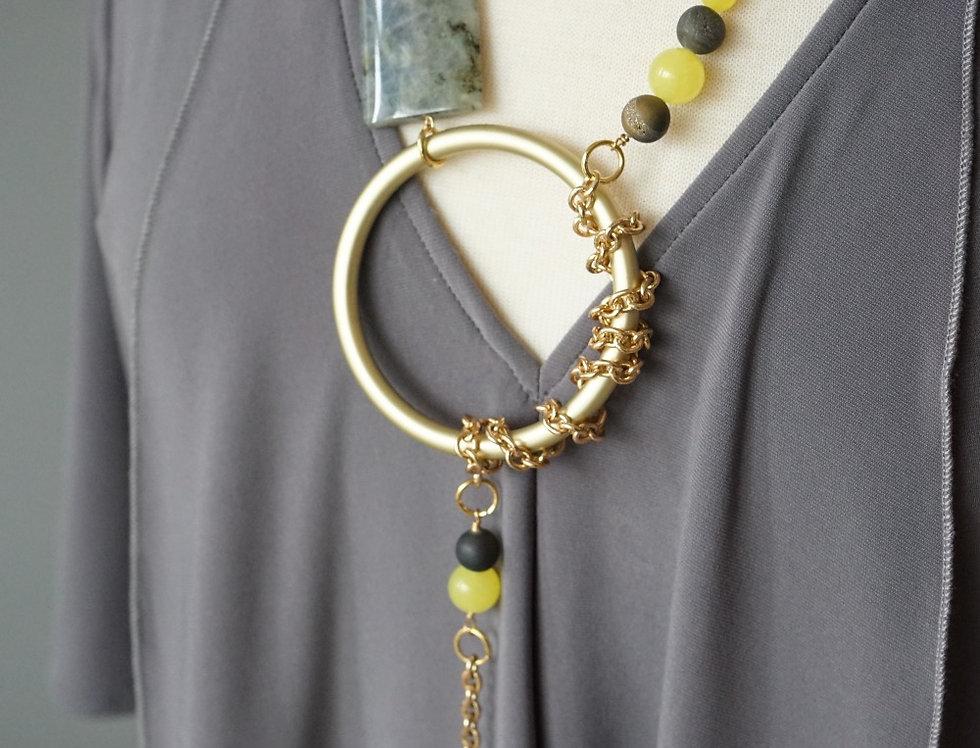 Labradorite & Citrine Gold Lariat Necklace