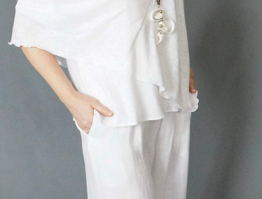Full length 100% linen pant with pockets