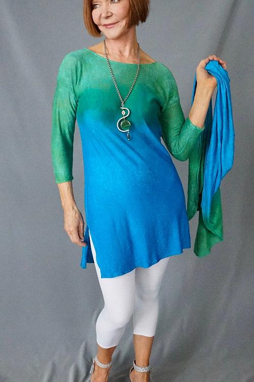 Emerald/ Turq. Hand Dyed Knit Linen Tunic