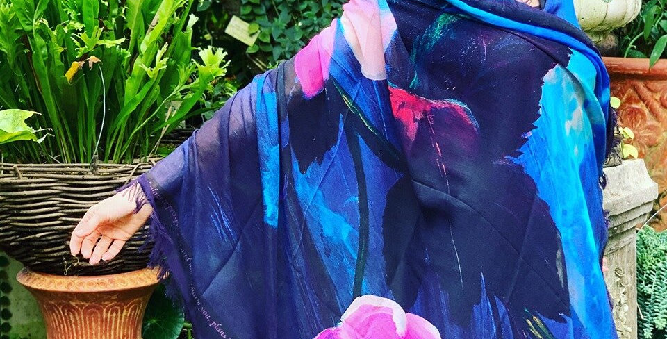 Awakened Joy Cherry Blossom Luxury Silk Scarf