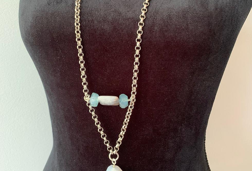 Blue Lace Agate Long Necklace