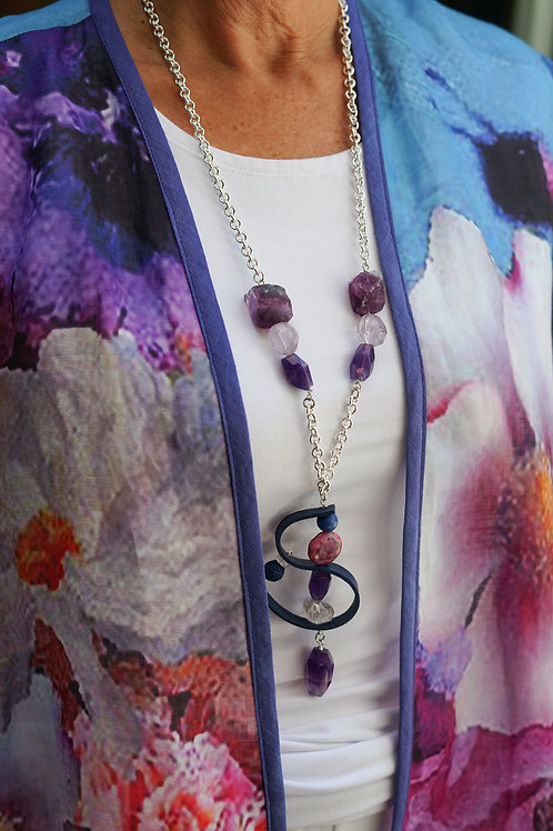 Amethyst & Leather Pendant  Necklace