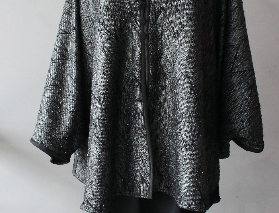 Silver Sparkle Bat Wing Zig O/S Coat Jacket