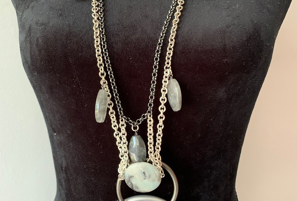 Beautiful Long Eclectic Ring Necklace