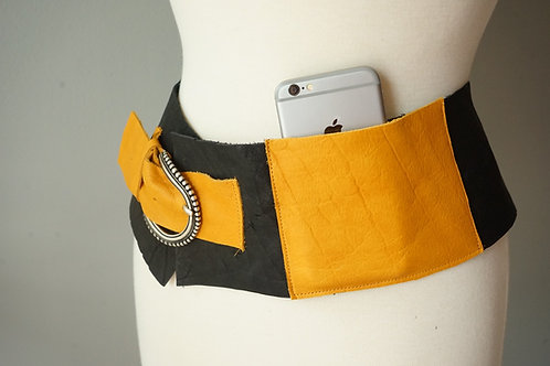 LEATHER FUNKY BELT with pocket