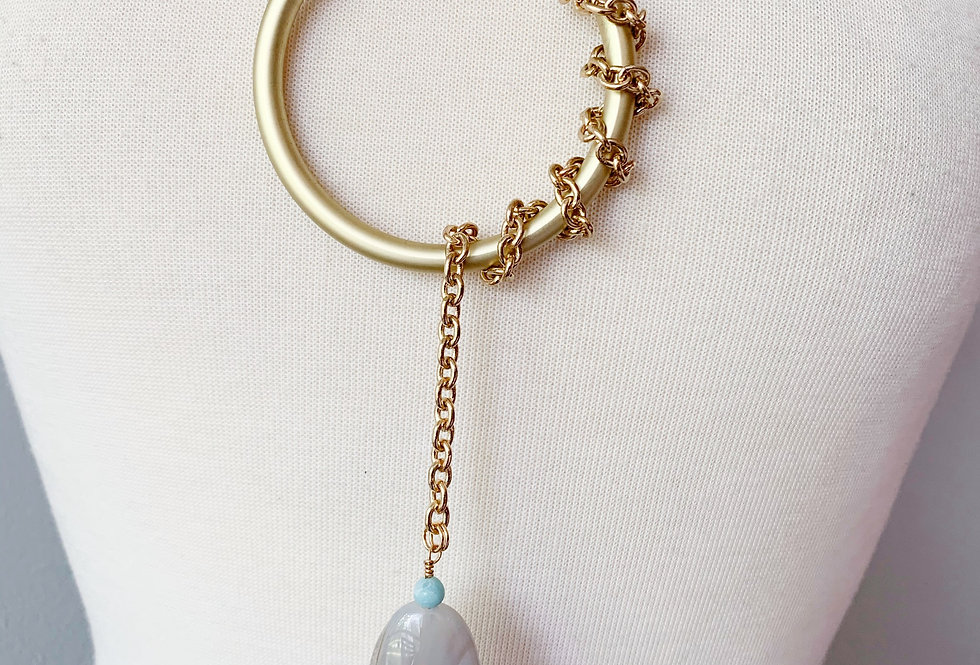 Gold Disc Lariat with Grey Agate and Turquoise Necklace