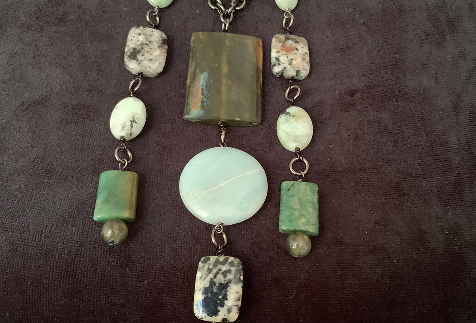 Labradorite, Amazonite Coin, Jade, Agate Necklace
