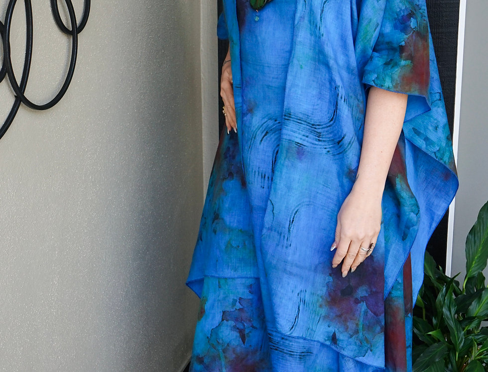 Hand Dyed Linen Print Large Wrap