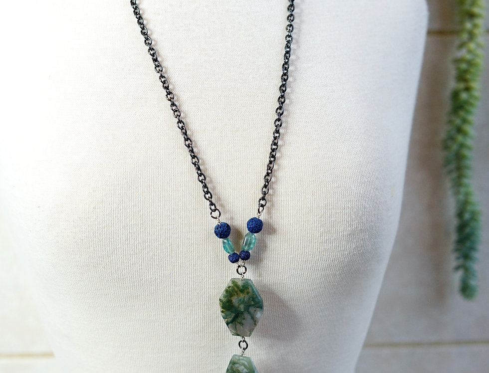 Turquoise Agate Pendant Necklace