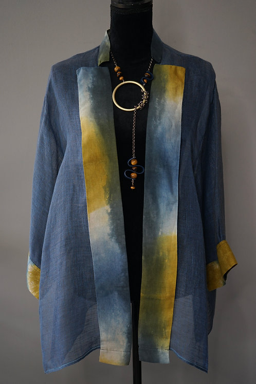 BLUE LINEN HAND DYED JACKET