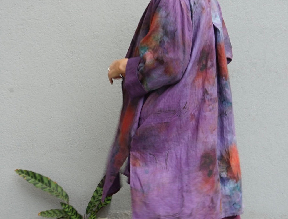 Hand Dyed Safari Button Coat (Purple Peonies)