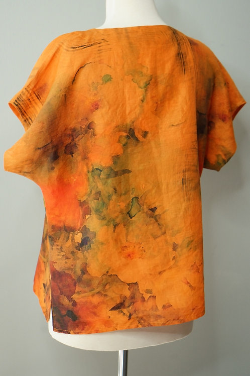 Hand dyed Linen V-Neck Top