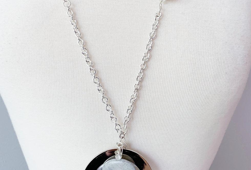 Double Disc Unique Silver Necklace
