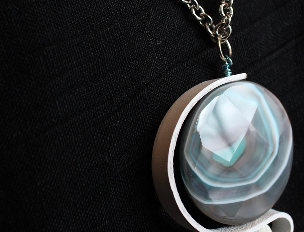 Faceted Agate With Lava & White Leather Necklace