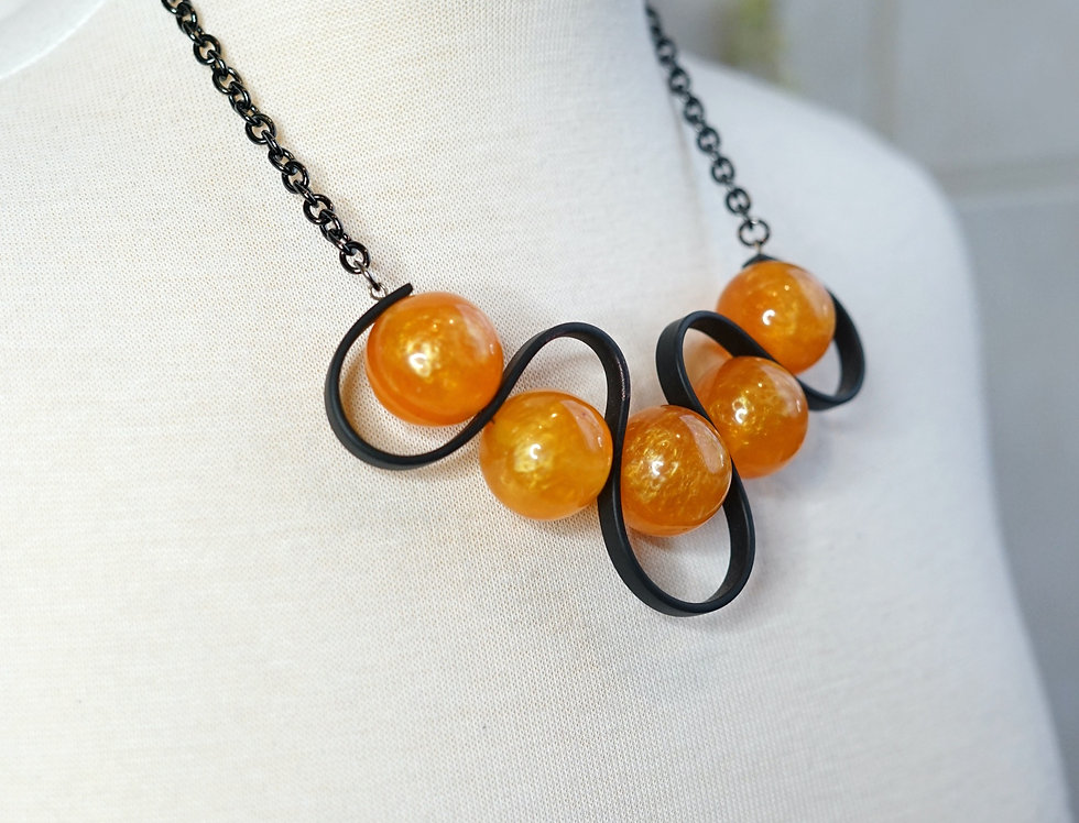 Amber Rubber Wave Necklace