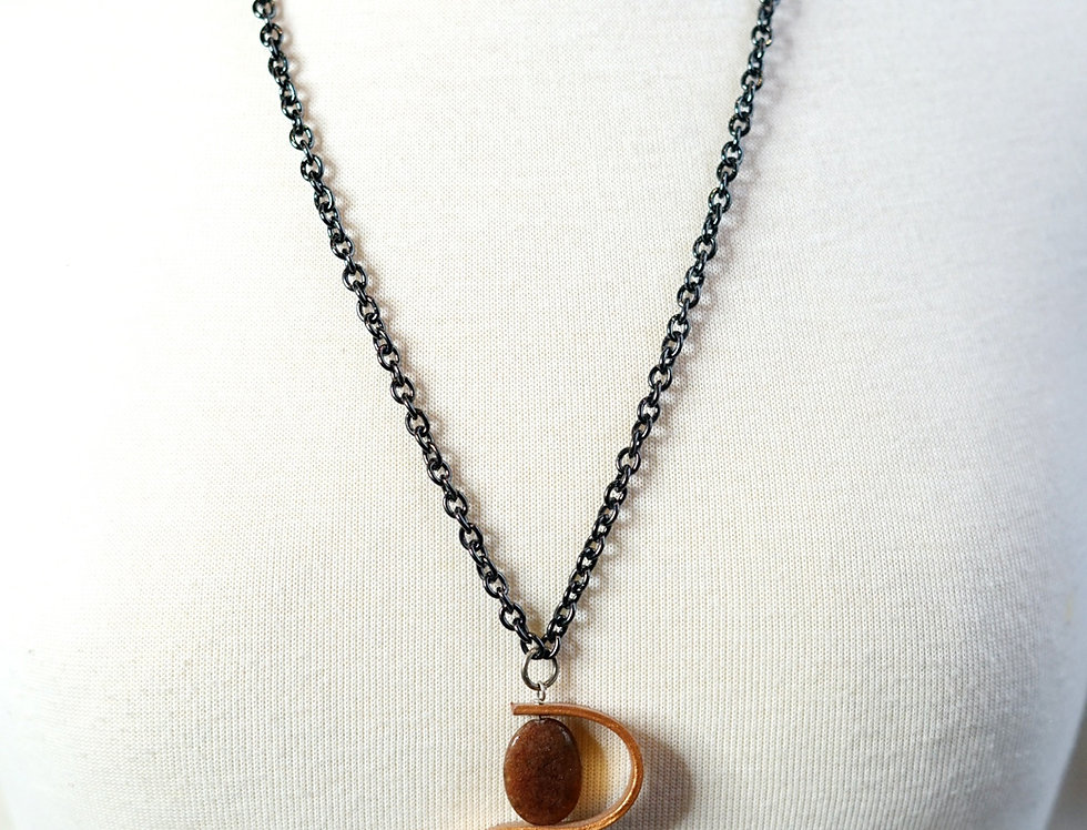 Copper Agate Leather Swirl Pendant Necklace