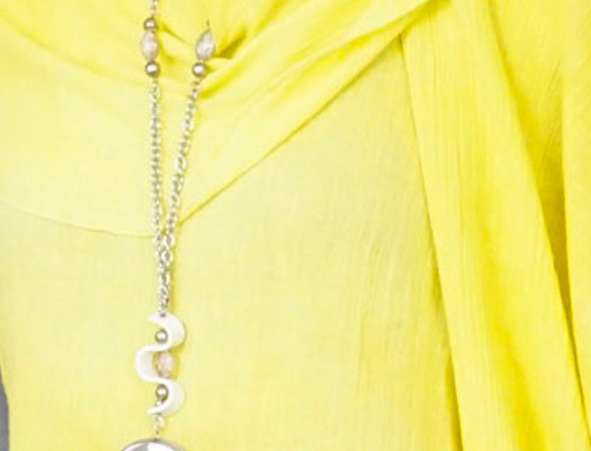 Long chain necklace with faceted stone pendant