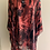 Thumbnail: Red/ Black devore silk/ viscose loose O/S Tunic