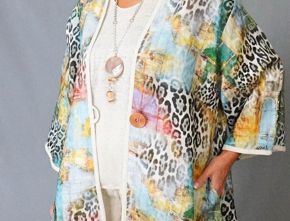 Venetian Animal Print 100% Linen Coat