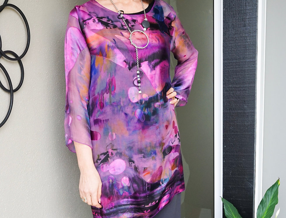 Hand Dyed/Painted Silk Tunic