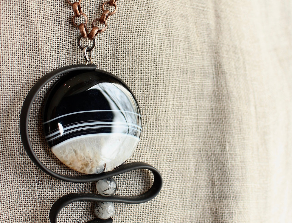 Agate with Antique Tibetan Bead and Black Rubber