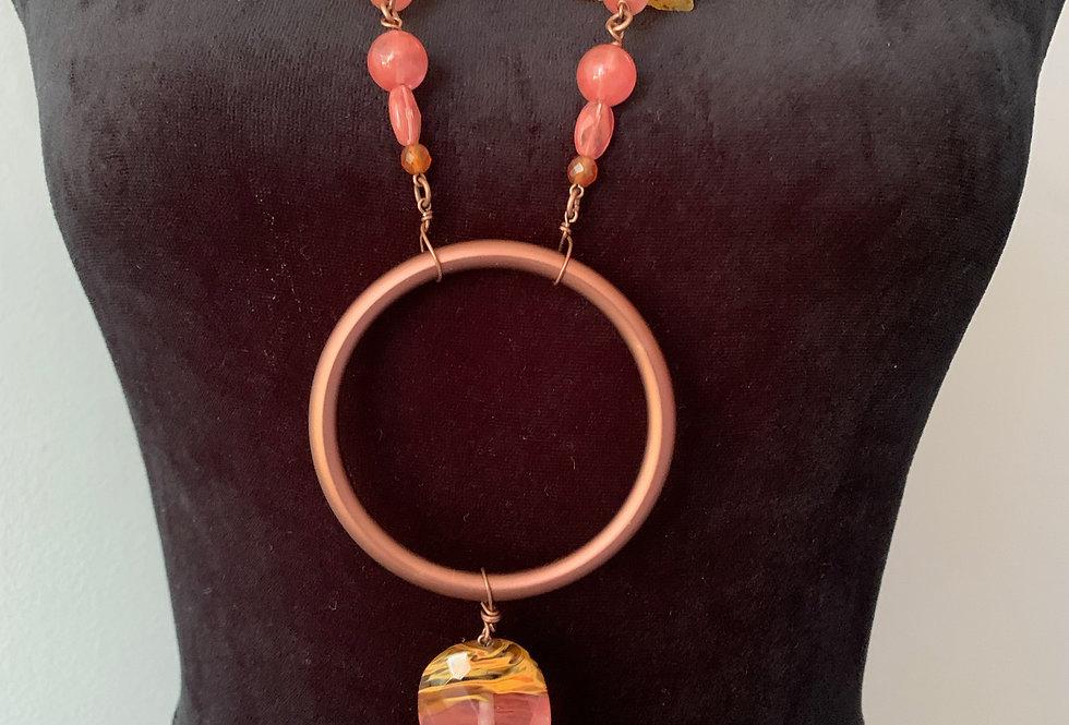 Copper Ring, Pink Quartz, Amber Necklace