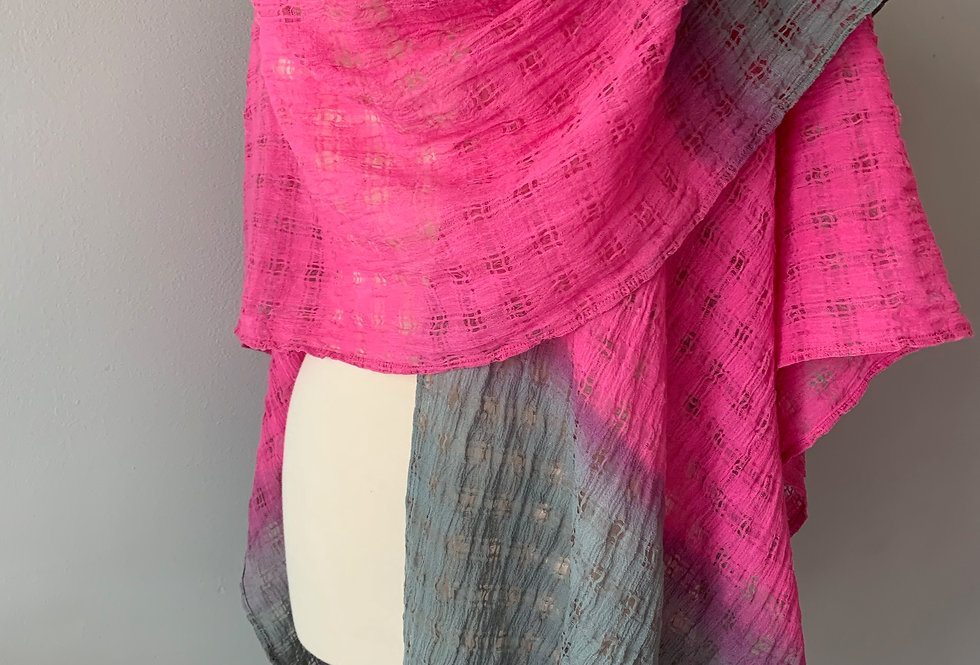 Hand Dyed Ombre Linen Mesh Large Wrap