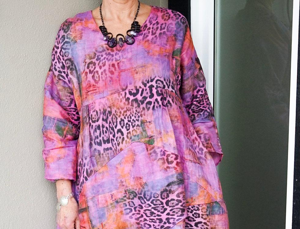 Hand Dyed Linen Print Tunic