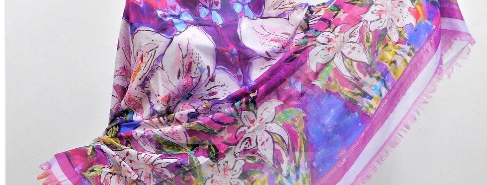 White Lillies Luxury Silk Scarf