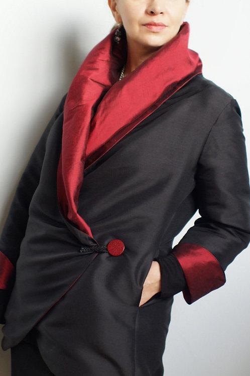 Red Silk Dupioni Reversible jacket