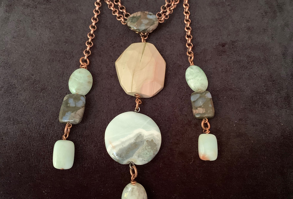 Large Black Amazonite Coin, Faceted Agate Necklace