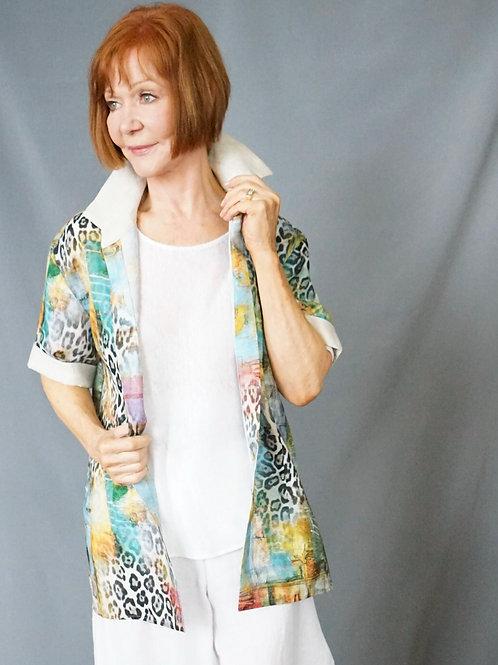 Unisex Venetian Animal Print Linen Shirt