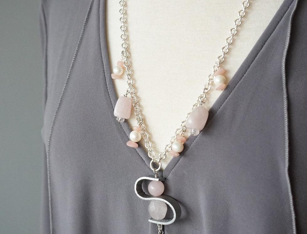 Rose Quartz & Pearl Leather Wave Pendant Necklace