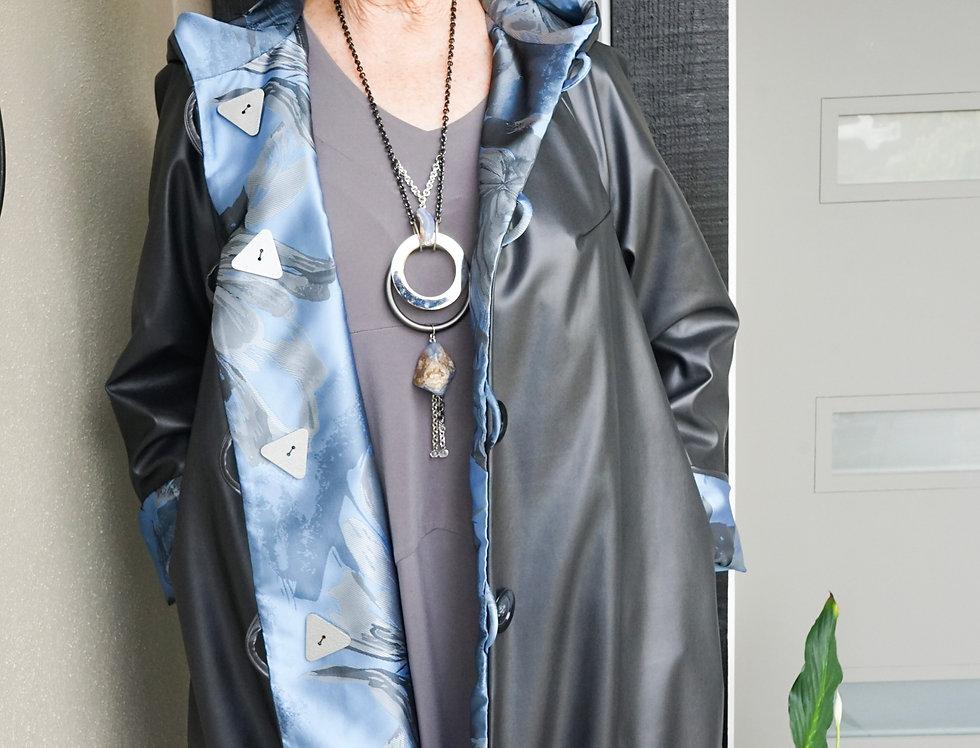 Reversible Rain Jacket (Charcoal/Blue Floral)