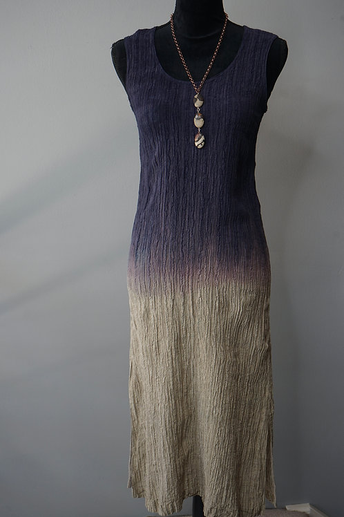 HAND DYED CRINKLE LINEN DRESS