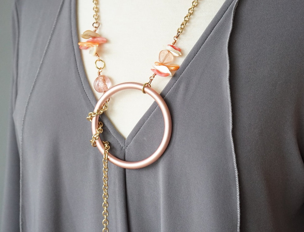 Rose Gold Shell & Glass Charm Lariat