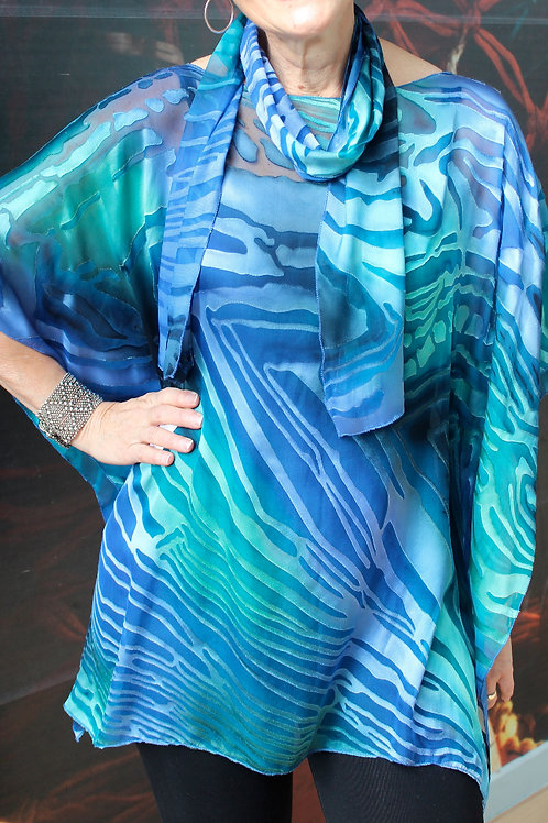 Short Silk Wave Tunic