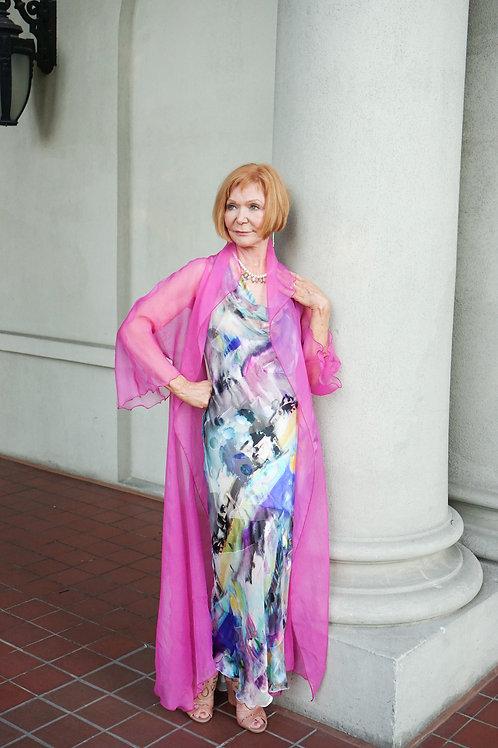Watercolour Silk Bias Dress