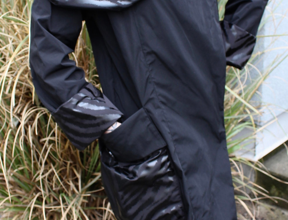 Black Lightweight Asymmetrical Raincoat