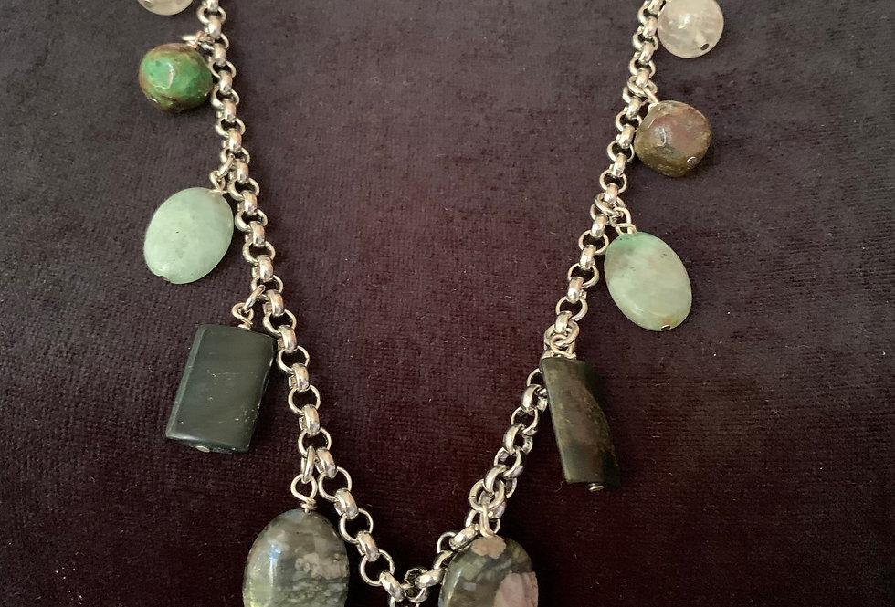 Blak Amazonite Coin Charm Necklace