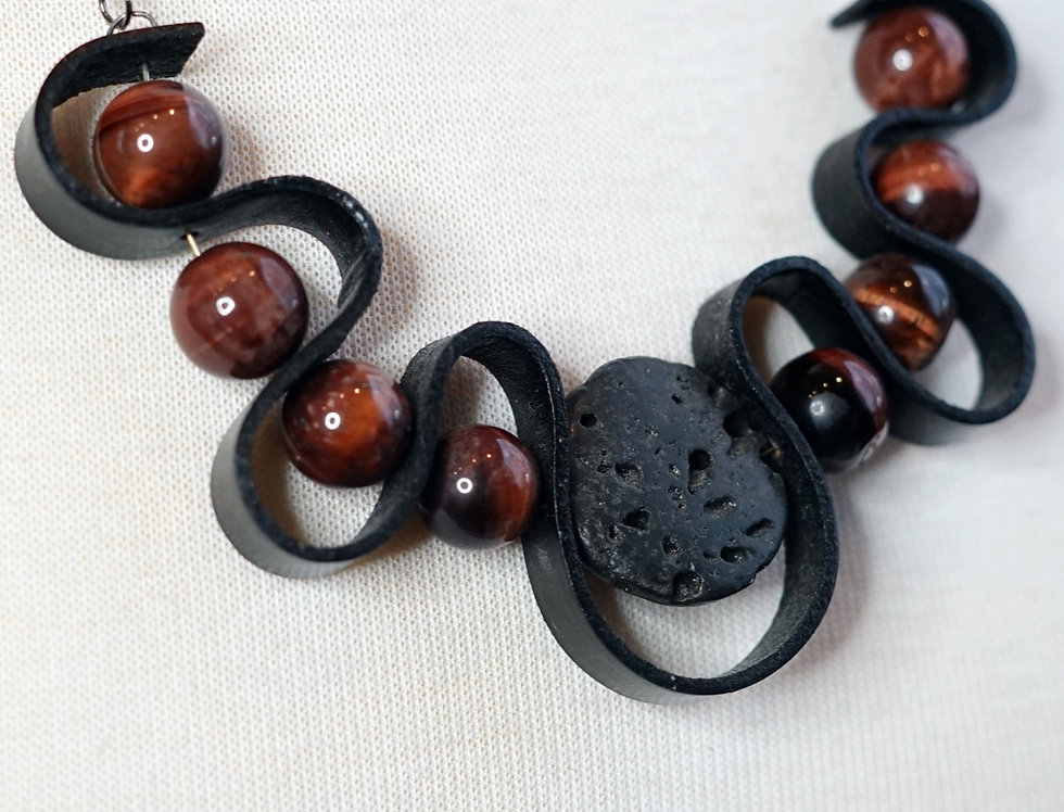 Red Tigers Eye & Lava Rubber Wave Necklace
