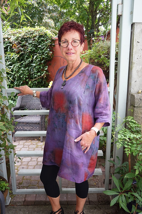 Hand Dyed Linen Print Easy Tunic
