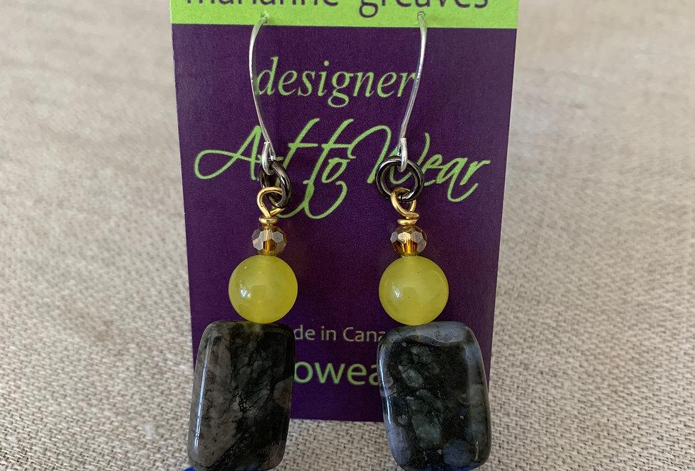 Yellow Jade, Agate, Lapis Earrings