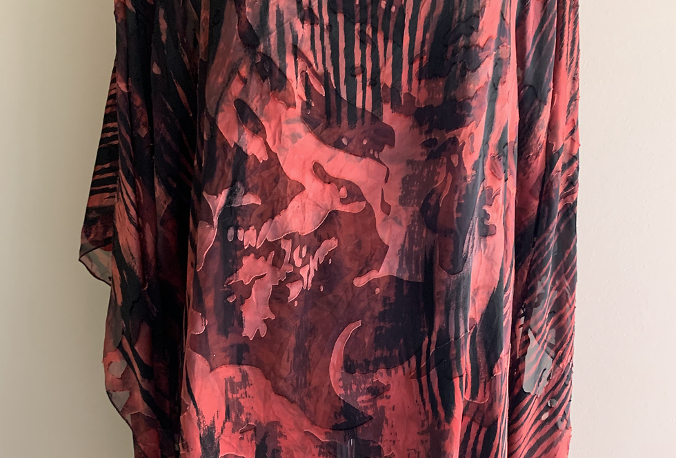 Red/ Black devore silk/ viscose loose O/S Tunic
